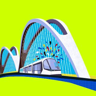 Dessin pont du rhin tramway et confettis