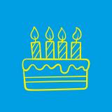 Dessin gâteau d'anniversaire jaune fond bleu