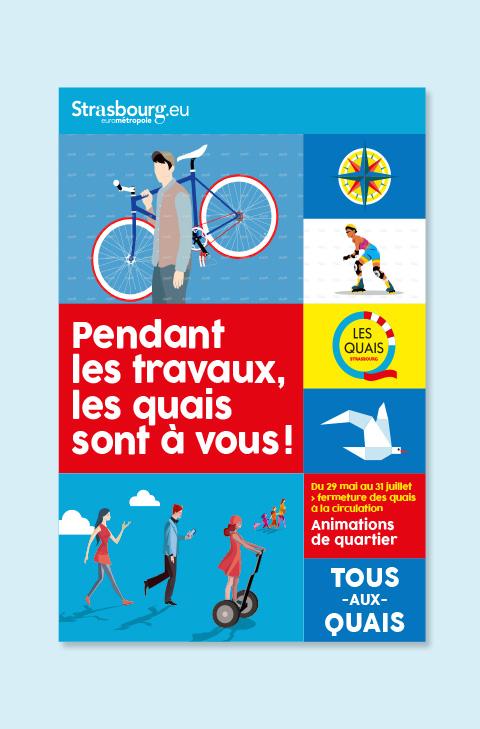 affiche travaux des quais Strasbourg