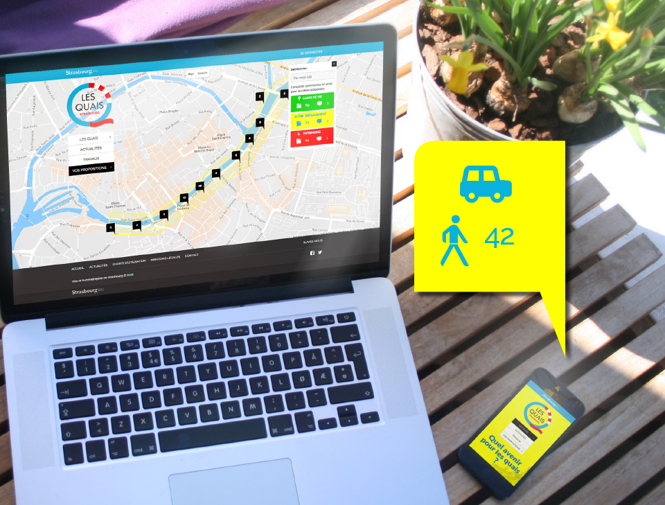 vue du site internet les quais ordinateur et smartphone