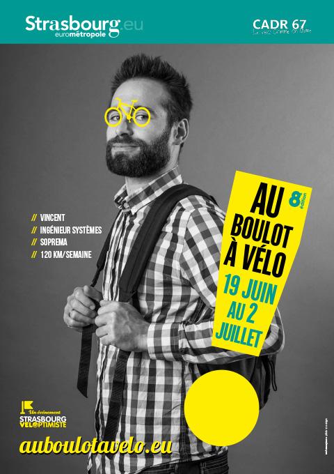 affiche portrait homme au boulot à vélo
