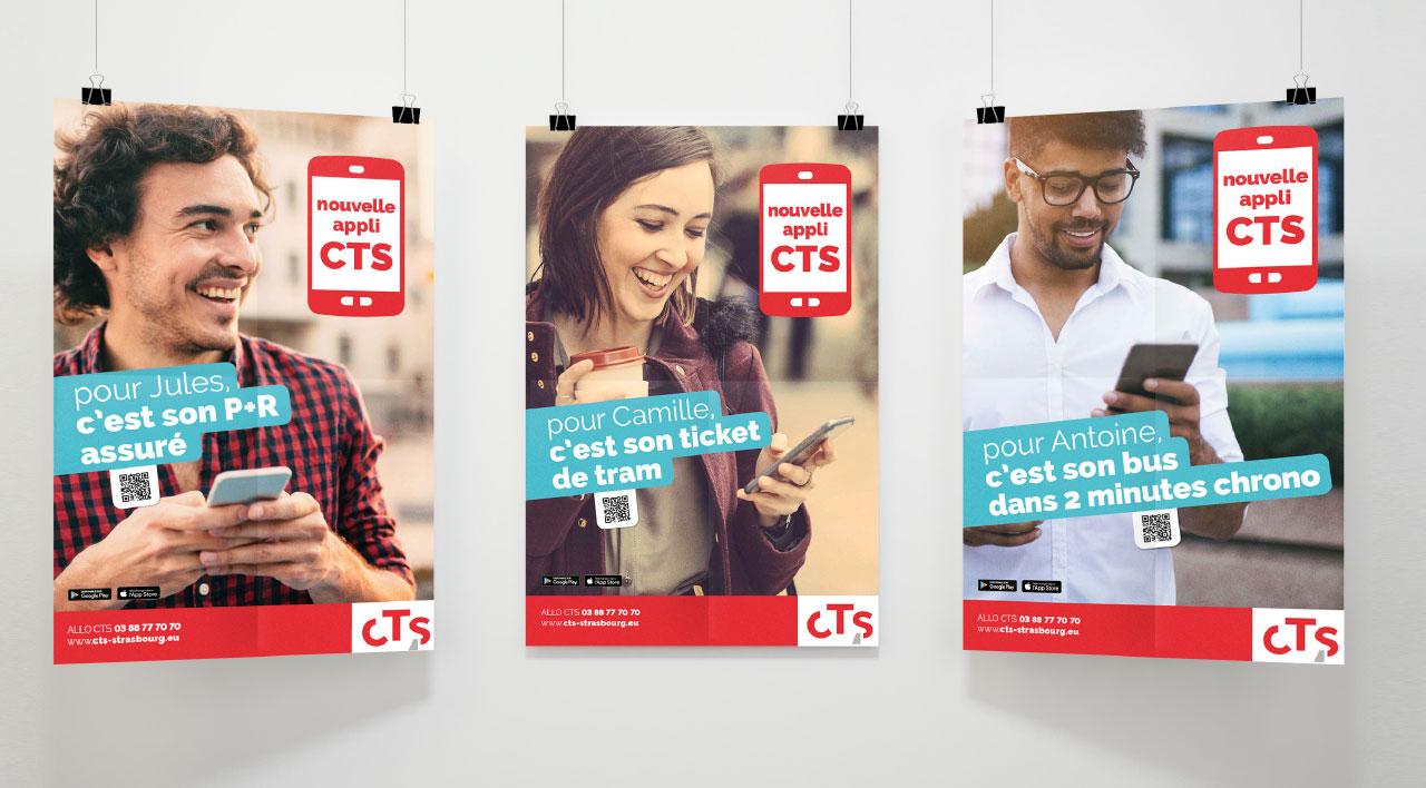 Affiches commerciales pour le lancement de l'application mobile CTS