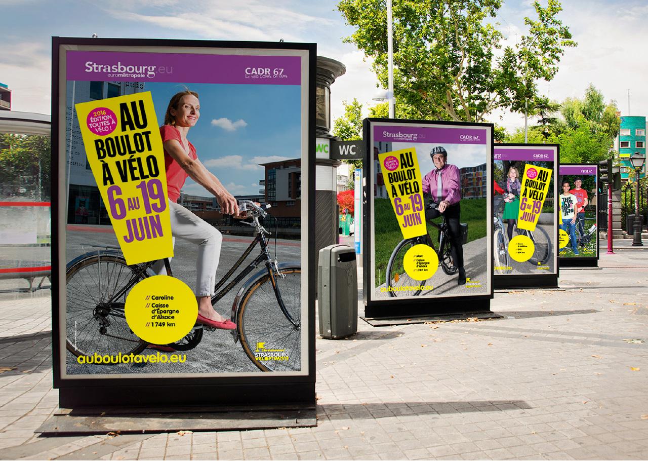 affiche mobilier urbain au boulot a vélo