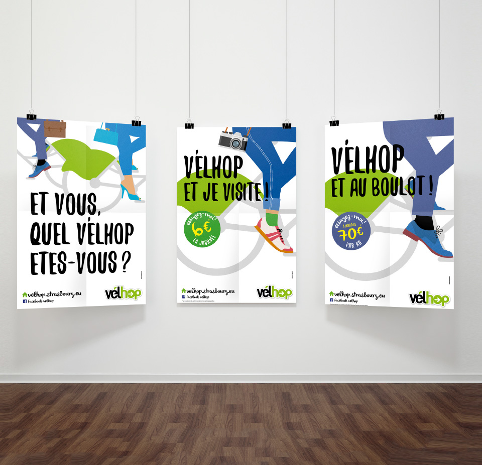 3 affiches commerciales velhop perspective