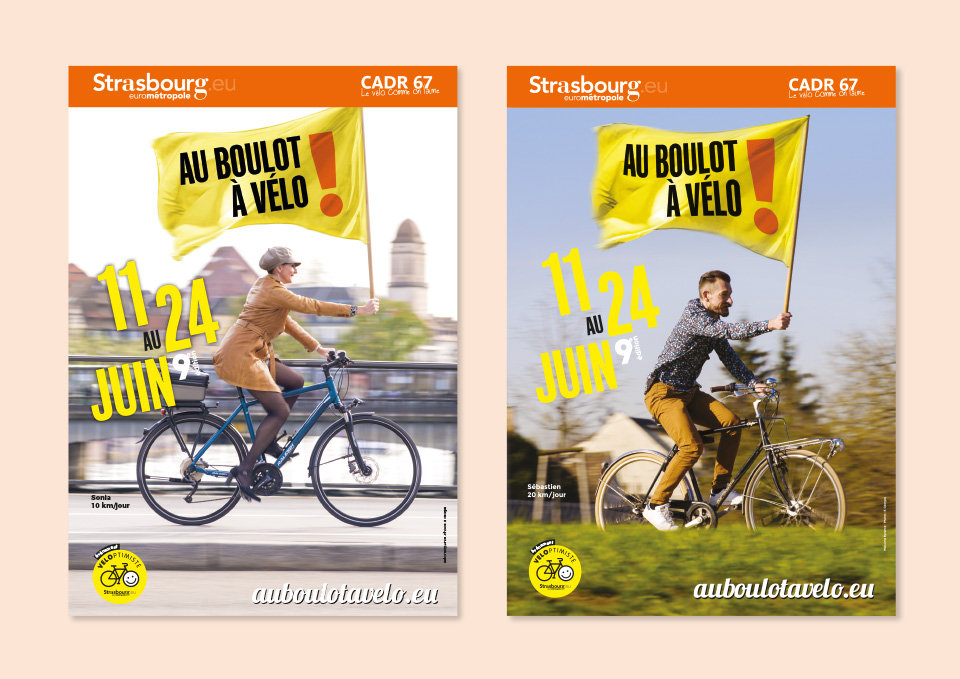 affiches drapeaux au boulot à vélo