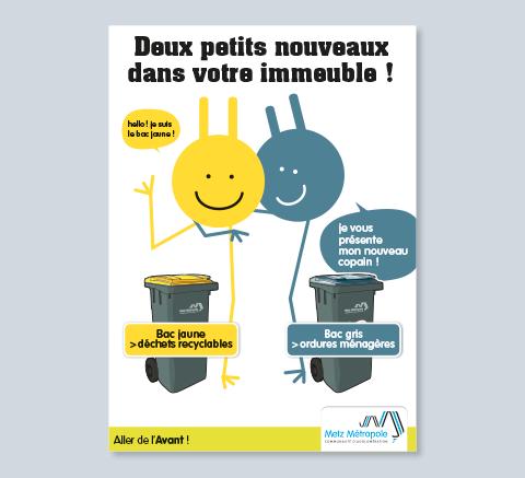affiche collecte des déchets arrivée des bacs jaunes et gris