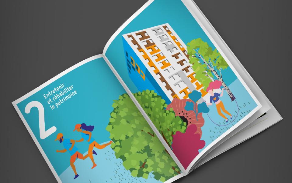 illustration double page Rapport d'activité HHA