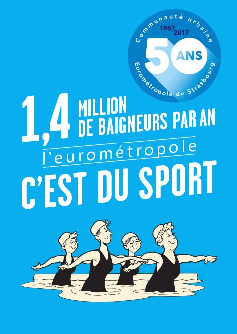 affiche 50 ans eurometropole : 1,4 millions de baigneurs par an c'est du sport