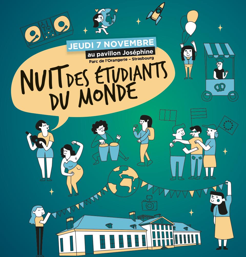 affiche évènement nuit des étudiants du monde