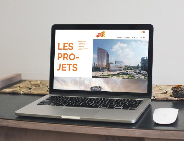vue page projet du site web oslo sur écran d'ordinateur