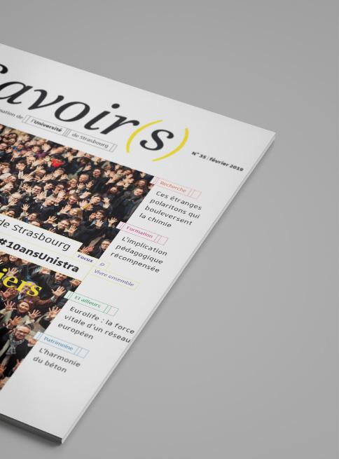 rubriquage sur couverture du magazine Savoirs