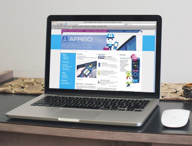 Vue du site internet Afriso sur écran d'ordinateur