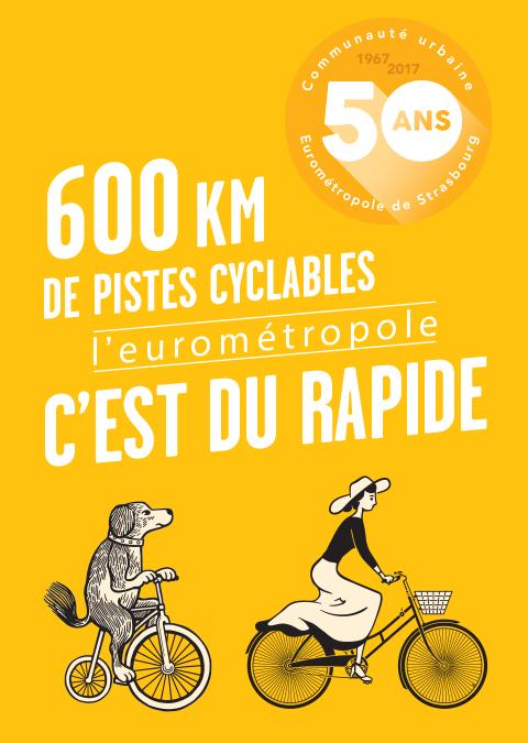 affiche 50 ans Eurométropole : pistes cyclables