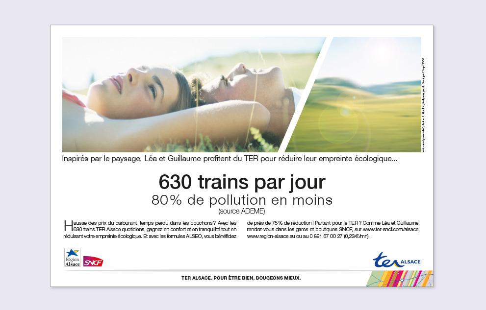 affiche commerciale TER 630 trains par jour 80% de pollution en moins