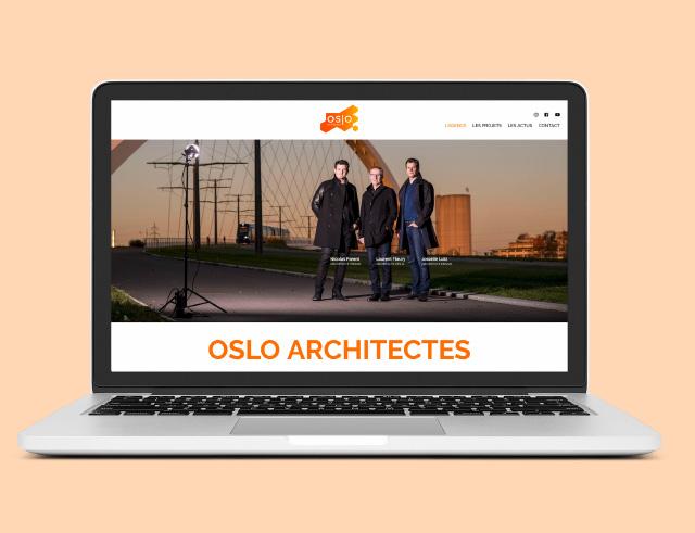 vue site internet oslo architectes sur écran d'ordinateur