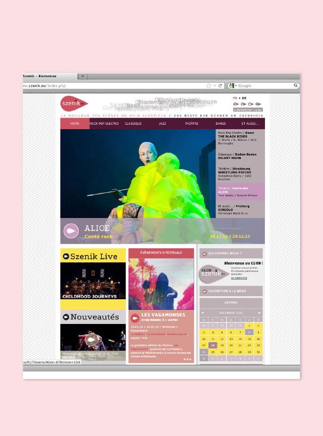 vue de la maquette graphique du site internet Szenik