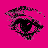Gravure oeil fond rose