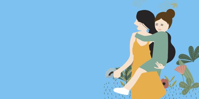 illustration femme portant sa fille HHA
