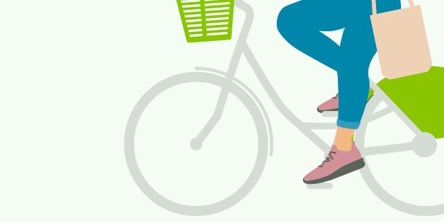 illustration femme qui pédale sur un vélhop